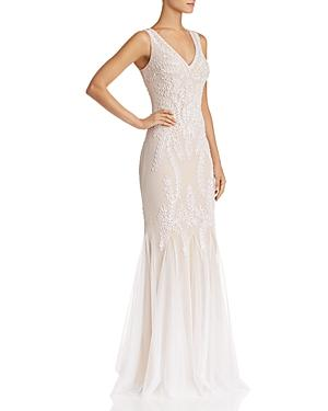 Avery G Soutache Godet Gown In Ivory/nude
