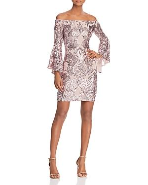 Aqua Sequin Off-the-shoulder Dress - 100% Exclusive In Rose