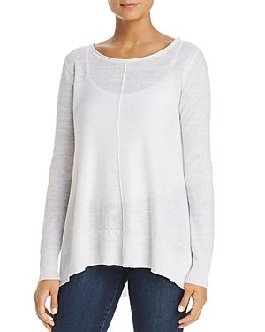 Donna Karan Long-sleeve Side-slit Linen Tee In White