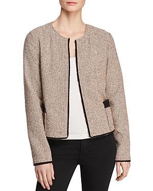 Donna Karan New York Open-front Tweed Jacket In Coral