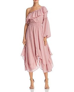 Misa Vola One-shoulder Ruffle Midi Dress In Pink