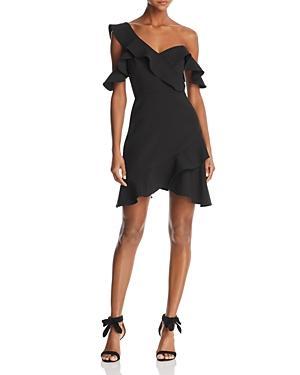Bcbgmaxazria Ruffled One-shoulder Dress - 100% Exclusive In Black