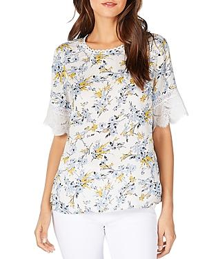 Michael Stars Floral-print Lace-trimmed Tee In Dandelion