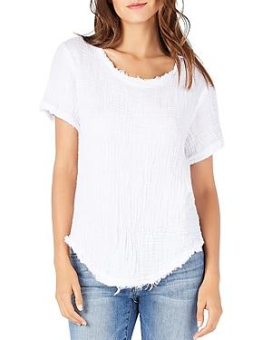 Michael Stars Textured Raw-edge Tee In White