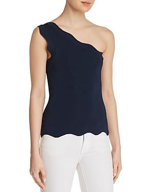 Bailey44 Jasmine Scalloped One-shoulder Top In Midnight Blue