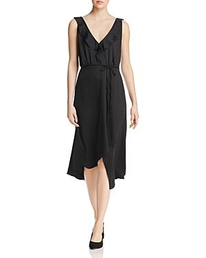 French Connection Maudie Ruffled Faux-wrap Dress In Black