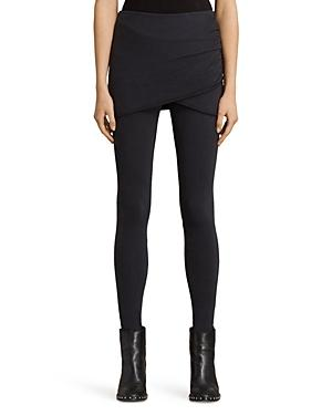 Allsaints Raffi Gathered Leggings In Black