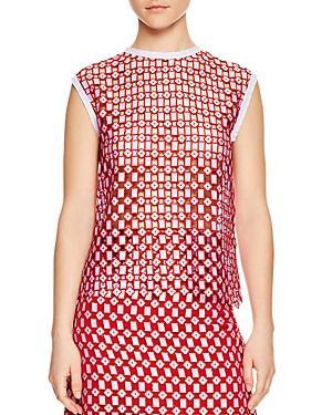 Sandro Yonna Geometric Openwork Lace Top In Red