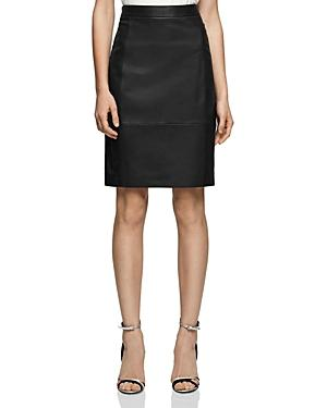Reiss Olivia Leather-front Skirt In Black