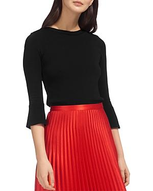 Whistles Knit Bell-sleeve Top In Black