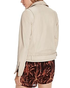 Scotch & Soda Maison Scotch Leather Moto Jacket In Sand
