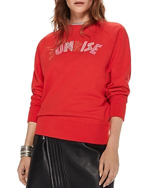 Scotch & Soda Sunrise Graphic Sweatshirt In Poppy Red
