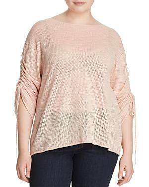 Vince Camuto Plus Pointelle Knit Drawstring-sleeve Top In Wild Rose