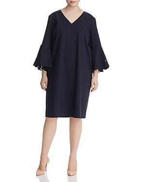 Lafayette 148 New York Plus Holly Eyelet-sleeve Dress In Ink