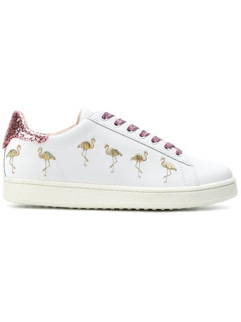 Moa Master Of Arts Flamingo Glitter Sneakers In White