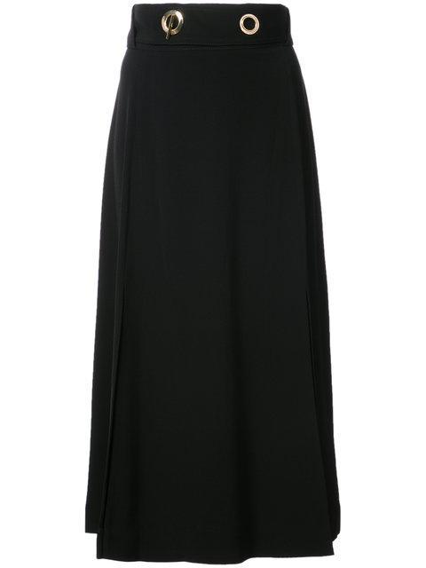 Derek Lam 10 Crosby Woman Belted Crepe Midi Skirt Black