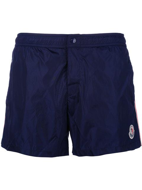 Moncler Side Stripe Swim Shorts In Blue