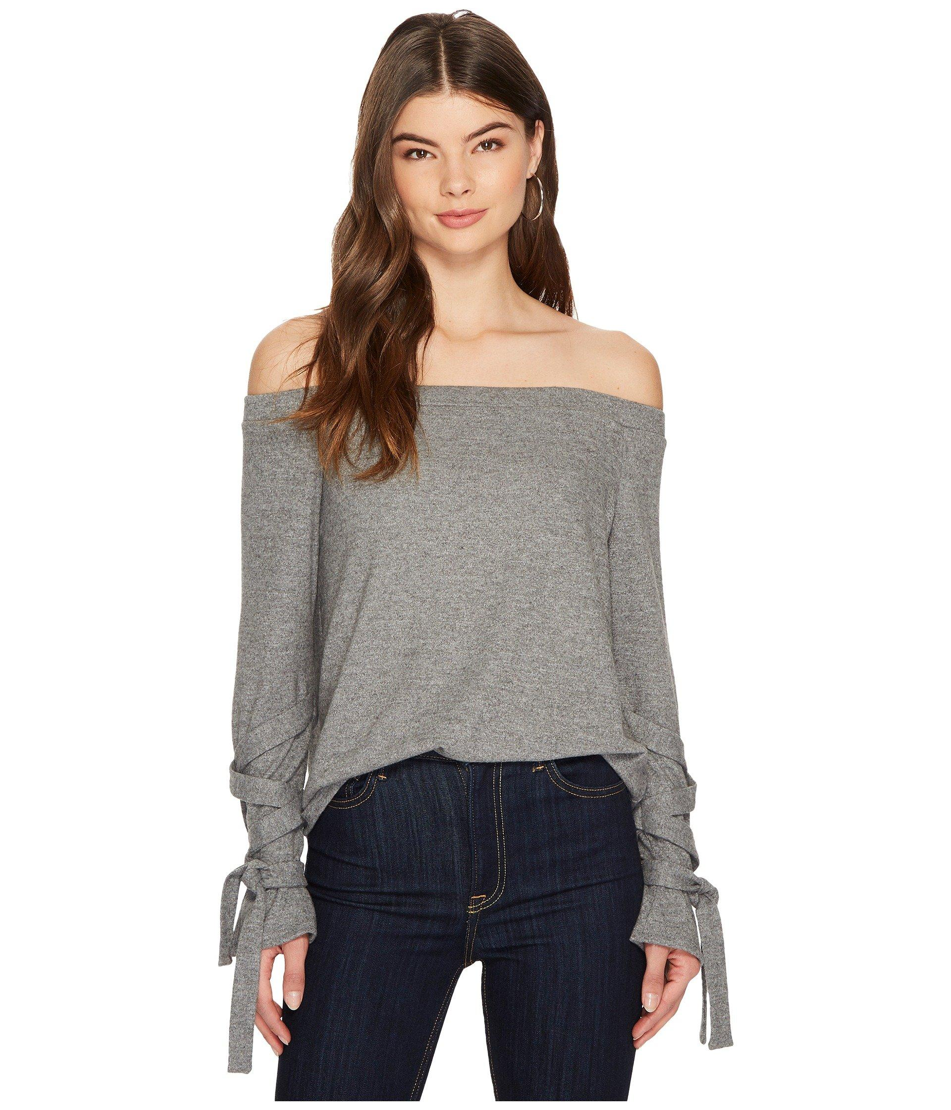 1.state Off Shoulder Tie Sleeve Top In Pewter Heather
