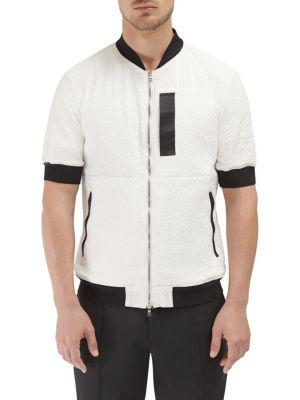 Efm-engineered For Motion Enfield Short Sleeve Bomber In Merchant White