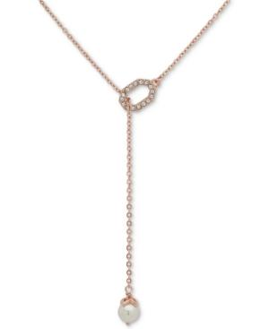 "Ivanka Trump Rose Gold-tone Crystal & Imitation Pearl Lariat Necklace, 16"" + 3"" Extender"