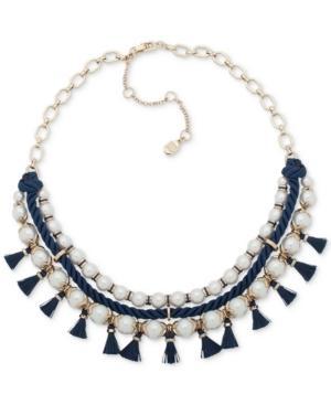 "Ivanka Trump Gold-tone Imitation Pearl, Blue Rope & Tassel Statement Necklace, 16"" + 3"" Extender In Multi"