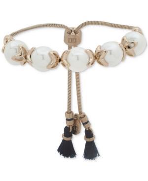 Ivanka Trump Gold-tone Imitation Pearl & Blue Tassel Slider Bracelet