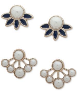 Ivanka Trump Gold-tone 2-pc. Set Imitation Pearl & Blue Jacket Earrings In Multi