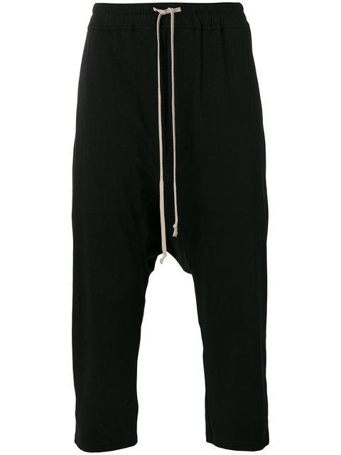 Rick Owens Drkshdw Black Drawstring Cropped Lounge Pants