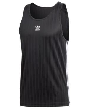 Adidas Originals Adidas Men's Originals Jacquard-stripe Tank Top In Black