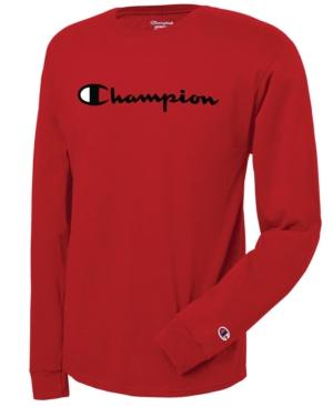 Champion Men's Long-sleeve Logo T-shirt In Red