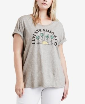 Levi's Plus Size Cotton Logo T-Shirt In Arch Smokestack Heather