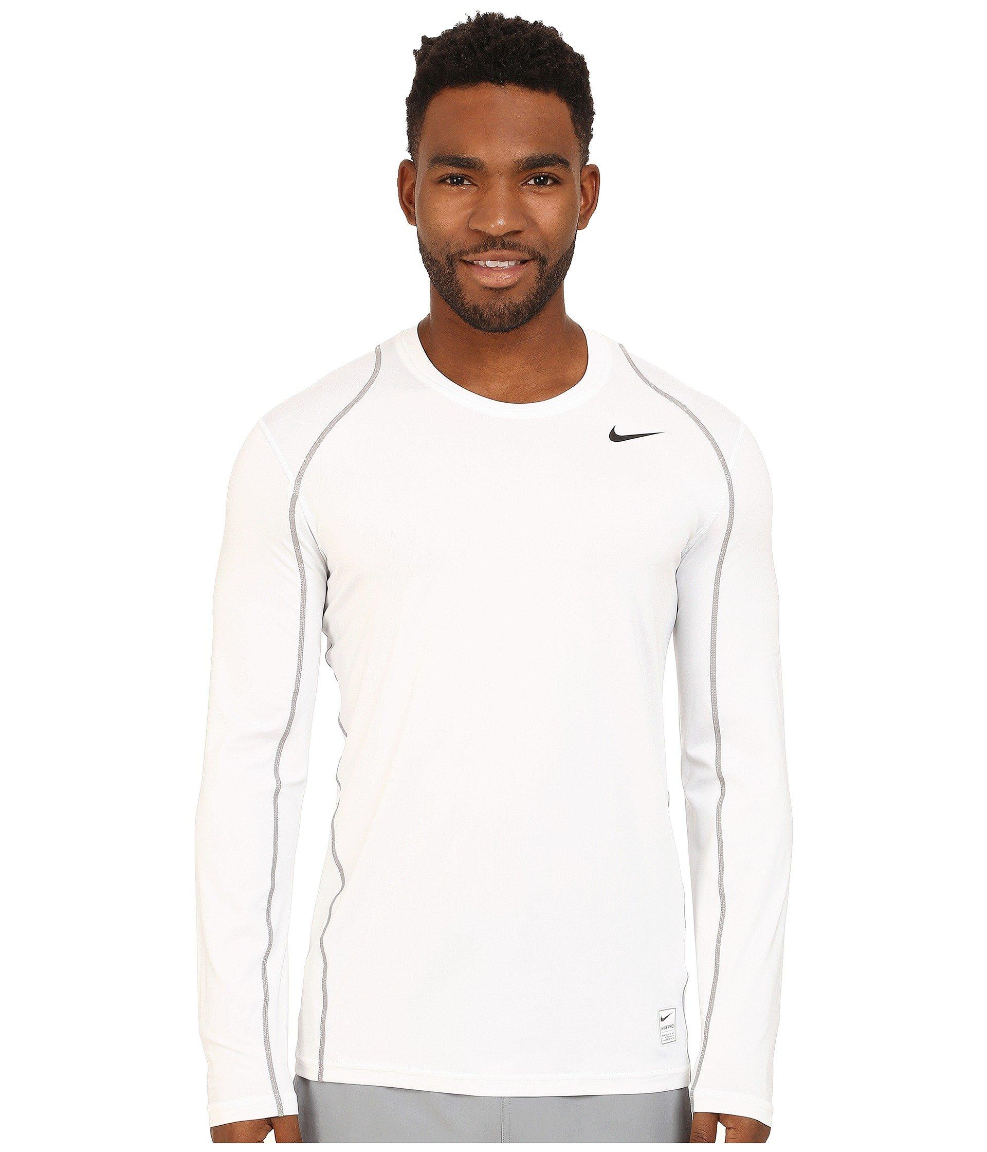 Nike Pro Cool Fitted L/s In White/matte Silver/black