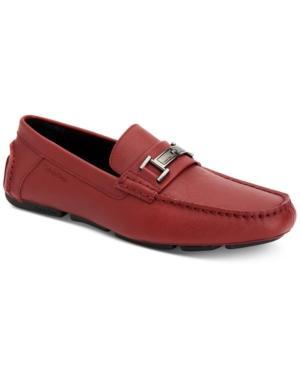 Calvin Klein Men's Magnus Driver Men's Shoes In Red Textured