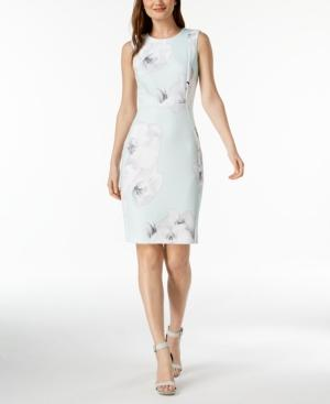 Calvin Klein Floral-print Scuba Sheath Dress In Mint Multi
