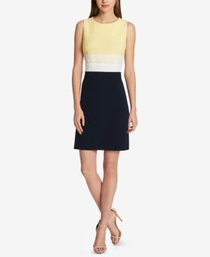 Tommy Hilfiger Sleeveless Colorblocked Sheath Dress In Sunshine