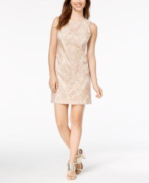 Vince Camuto Sequin Embroidered Sheath Dress In Blush