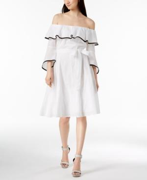 Calvin Klein Cotton Off-the-shoulder Dress In White/black