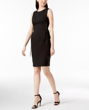 Calvin Klein Cotton Lace-up Corset Dress In Black