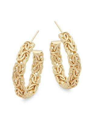 Saks Fifth Avenue Woven Yellow Gold Hoops/1''