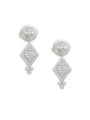 Freida Rothman Small Harleqin Crystal Drop Earrings In Silver