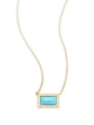 Ippolita 18k Yellow Gold, Diamond & Turquoise Necklace