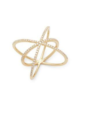 Ef Collection Diamond & 14k Gold Cage Ring
