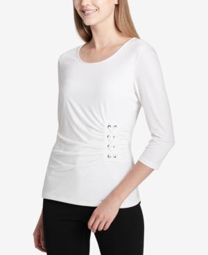 Calvin Klein Side-laced Scoop-neck Top In Soft White