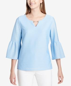 Calvin Klein Textured Embellished Bell-sleeve Top In Iceburg