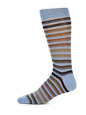 Saks Fifth Avenue Stripe Socks In Light Blue