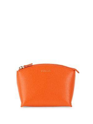 Furla Elisa Leather Cosmetic Bag In Mango