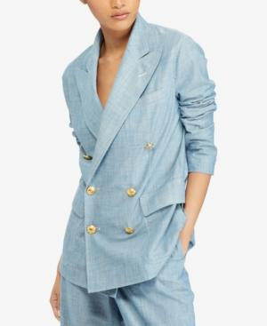 Polo Ralph Lauren Chambray Cotton Blazer In Navy