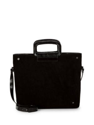 Halston Heritage Suede & Leather Tote Satchel In Black
