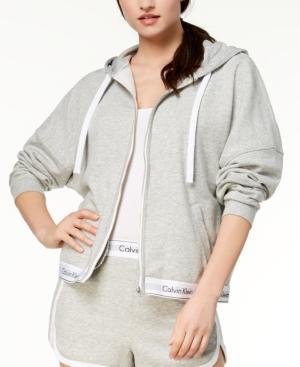 Calvin Klein Full-zip Hoodie In Grey Heather
