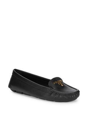 Prada Leather Slip-on Shoes In Black